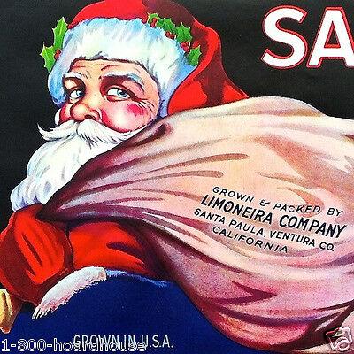 Vintage Original SANTA CLAUS LEMON CITRUS FRUIT Box Crate Label NOS Xmas 1928