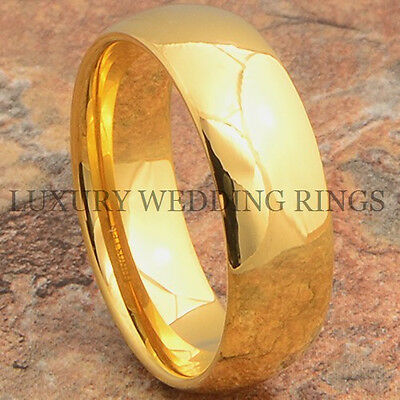 Tungsten Ring 14K Gold Wedding Band For Mens & Womens Bridal Jewelry Size 6-13 14k Tungsten Ring