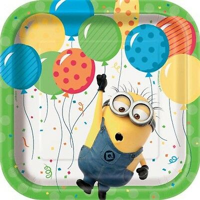DESPICABLE ME Minion Made SMALL PAPER PLATES (8) ~ BIrthday Party Supplies Cake - Minion Birthday Party Supplies