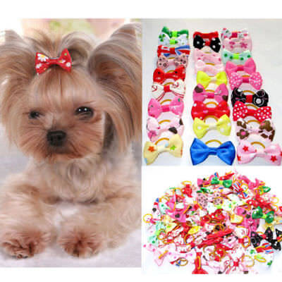 Dog Hair Bows with Rubber Bands - 2 piece PACK - USA - Bow Rubber Bands