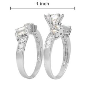 STUNNING BRAND NEW 2 RING CUBIC ZIRCONIA SILVER RING SET Barrie Ontario image 2