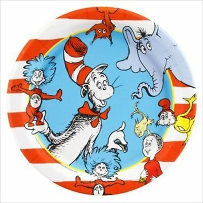 CAT IN THE HAT SMALL PAPER PLATES (8) ~ Birthday party Supplies Cake Dessert