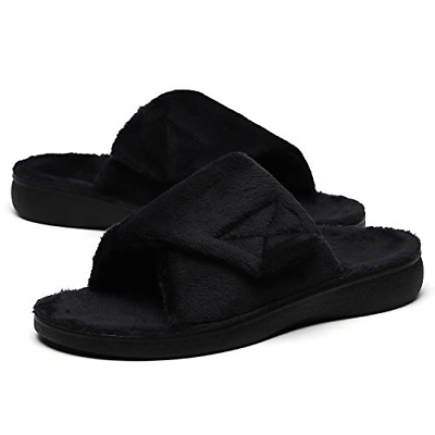 fuzzy house slippers arch support orthotic heel
