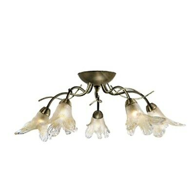 SEARCHLIGHT LILY RANGE 5 LIGHT CEILING LIGHT FITTING IN ANTIQUE BRASS 5495-5AB