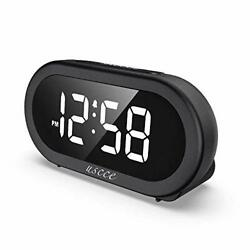 Small LED Digital Clock Snooze Adjustable Alarm Volume 5 Sounds USB Charger Desk