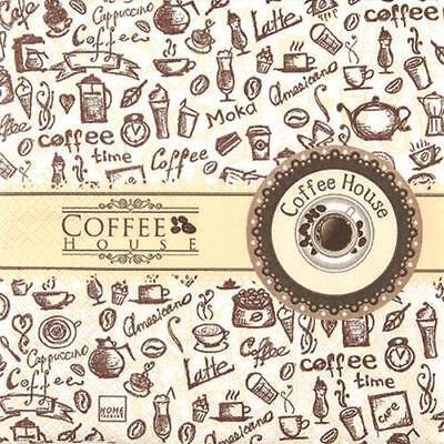 20 Servietten Coffee House Kaffee Getränke Motivservietten Tischdeko braun