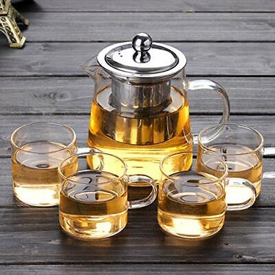 32oz Glass Teapot with Infuser + 4oz Tea Cups x4 Tea Set Tea