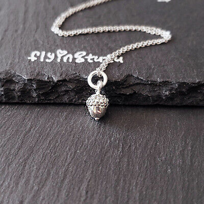 Sterling Silver 3D Tiny Acorn Pendant Necklace (shiny, tiny size)