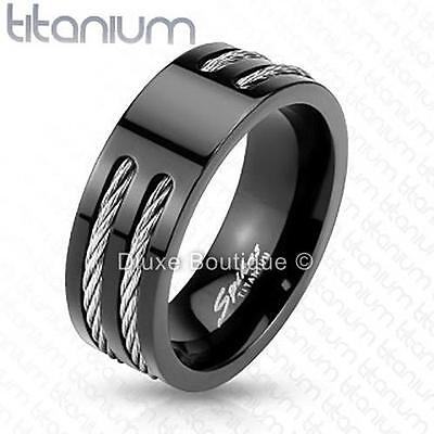Men's 8mm Solid Titanium Black IP Two Wire Rope Inlay Comfort Fit Ring Band Comfort Fit Rope Ring