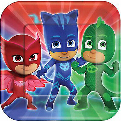 Dinner Party Masks (PJ MASKS LARGE PAPER PLATES (8) ~ Birthday Party Supplies Luncheon Dinner)