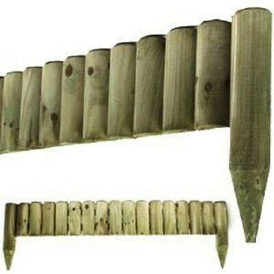 6x Border Fixed Picket Log Roll Garden Fence edge 1M Outdoor Lawn Edging Decor