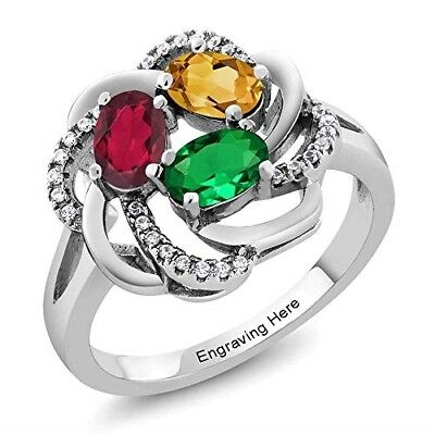 Personalized Ring Engraved Birthstones Valentine's Day Gifts for Women Wife Girl - Rings For Valentine's Day