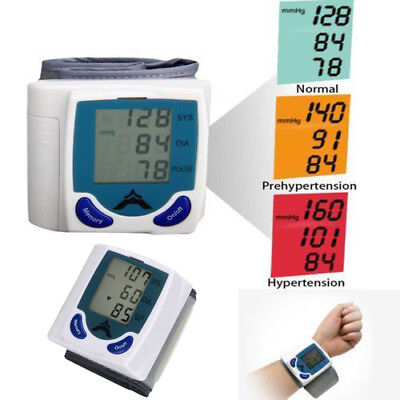 New Digital Automatic Wrist Blood Pressure Monitor Heartbeat Tester Meter LCD