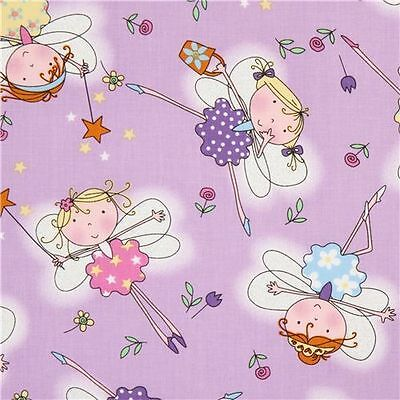 Fairies Flieder Patchworkstoff Stoffe Kinderstoffe Kinder Patchwork Glitter Fee