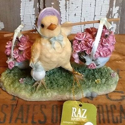 RAZ IMPORTS Easter Figurine Decoration Chick Carrying Flowers Vintage Look