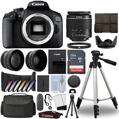 Canon EOS 2000D / Rebel T7 DSLR Camera + 18-55mm 3 Lens Kit+ 32GB Best Value