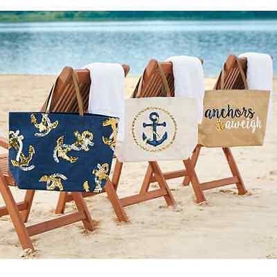 Mud Pie Anchor Nautical Dazzle Sequin Jute Tote /Beach Bag / Shopper / Purse