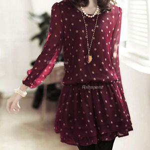 New Womens Ladies Chiffon Long Sleeve Polka Dots Spotted Mini Skirt Dress