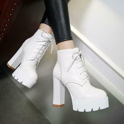 Details about  /Women/'s Ankle Boots Mesh Hollow Out Block Heel Round Toe Lace Up Shoes 34//43 L