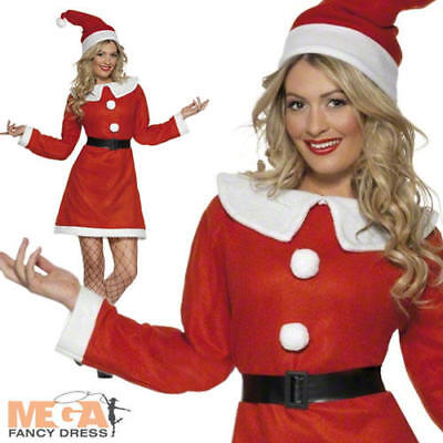 Miss Santa Claus Ladies Christmas Fancy Dress Xmas Holiday Costume Outfit + Hat (Miss Claus Outfits)