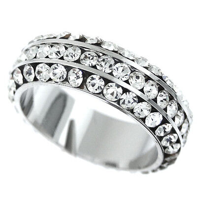 Around Crystal - All Around Crystal Stones Silver Rhodium Plated Ladies Eternity Ring Size 6
