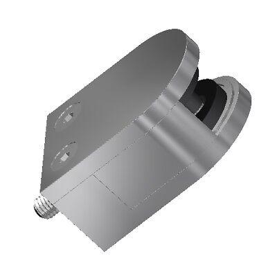 Glasklemme 63 x 45 x 30 flach Glashalter mit Sicherungsblech V2A Klemmhalter