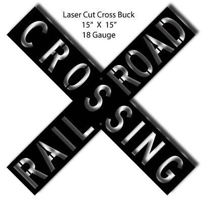 Crossbuck Black Laser Cut Out 15x15
