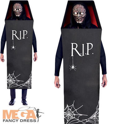 Creepy Vampire Costume (Creepy Coffin Mens Fancy Dress Halloween Novelty Vampire Undead Adults)