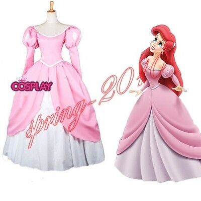 The Little Mermaid princess Ariel Pink Dress Custom Made Cosplay - Mermaid Customes