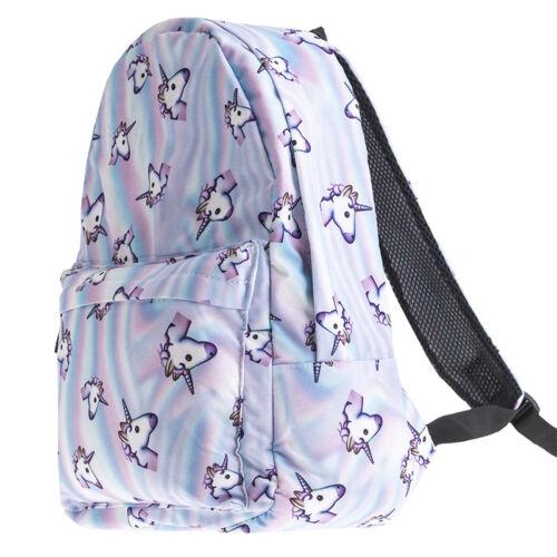 Girls School Bag Backpack Cute 3D Unicorn Cartoon Print Canv