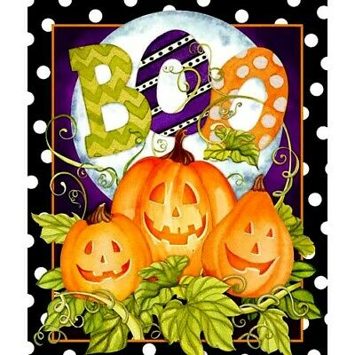 HALLOWEEN HAPPY HAUNTING PUMPKIN FABRIC WALL HANGING  35