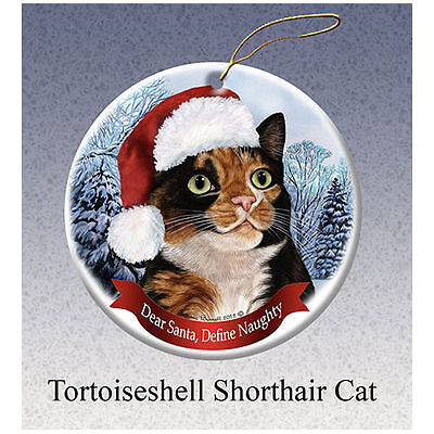 Tortoiseshell Calico Cleo Cat Howliday Porcelain China Dog Christmas Ornament