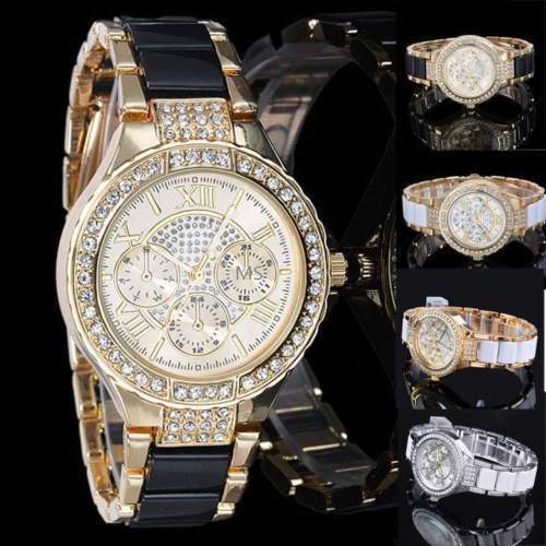 $7.99 - Luxury Fashion Women's Ladies Crystal Bracelet Leather Analog Quartz Wrist Watch