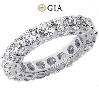 4.82 ct Round Diamond Ring Platinum Eternity Band E-F VS GIA 16 X 0.30 ct size 5