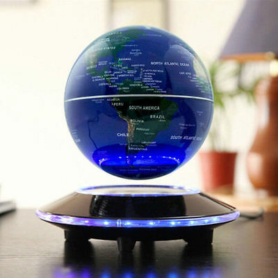 8 LED Decor Light World Map Magnetic Levitation Maglev Levitating Floating Globe