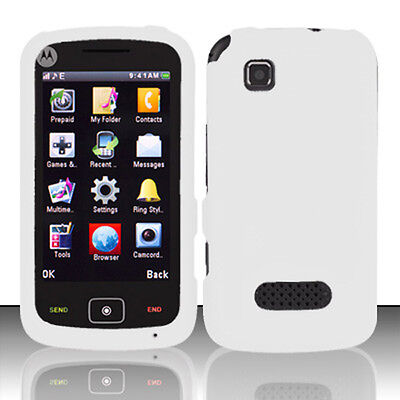 For Motorola EX124g Rubberized HARD Case Snap on Phone Cover Rubber White