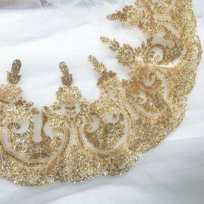 1 Yard Gold Sequins Shiny Lace Trim Wedding Dress Stage Clothes Applique Decor - Gold Lace