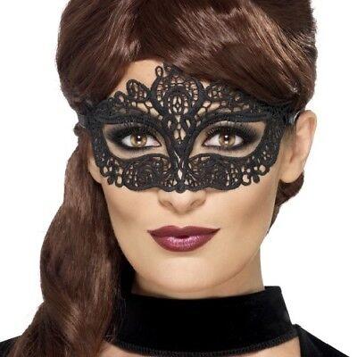 Damen Masquerade Ball Kostüm Augenmaske Filigran Augenmaske Schwarz von Smiffys ()