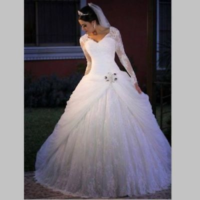Long Sleeve Lace white/ivory Bride Wedding Dress Bridal Ball Gowns Custom size - Long Sleeve Bridal