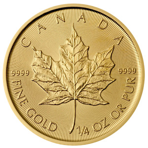 Pièce or feuille d'érable/bullion gold maple leaf 2017 1/4 oz