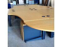4 Oak L Desks, Pedestals & Extension Section