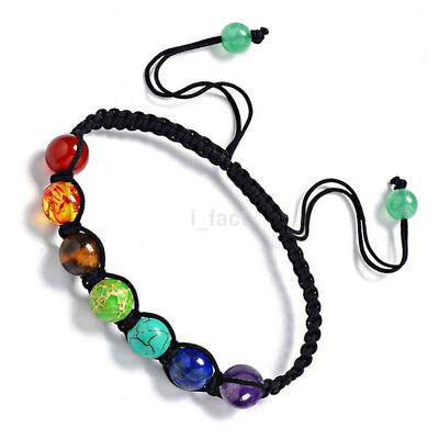 Elegant Rainbow 7 Chakra Bracelet Treatment Balanced Bead Bracelet Jewelry CA
