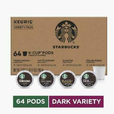 Starbucks Dark Roast K-Cup Coffee 64 Pods — Variety Pack for Keurig BB 09/2020