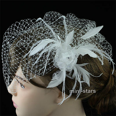 Bridal Birdcage Netting Veil Off WhiteFabric Feather Fascinator Flower AT1574