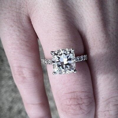 2.50 Ct Genuine Radiant Cut w/ Round Diamond Engagement Ring GIA Certified H, IF