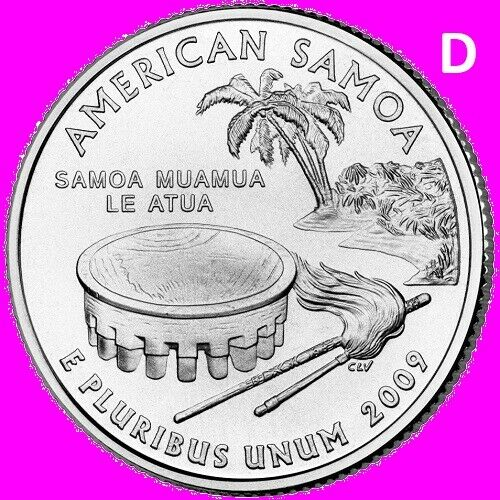 2009 D American Samoa Quarter AS DC & US Territory Statehood ~ UNC 2nd