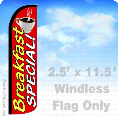 Breakfast Special - Windless Swooper Flag Feather Banner Sign 2.5x11.5 Rz
