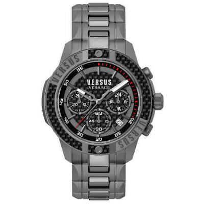 Versace Versus Men's VSP381018 Chronograph Carbon Fiber Ring Black Watch NEW ❤