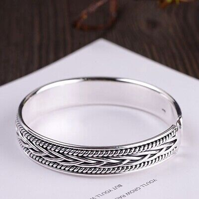 Real 999 Sterling Pure Silver Cuff Bracelet  Woven Braided -