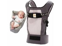 Excellent condition Ergo Performance baby carrier in grey, with insert